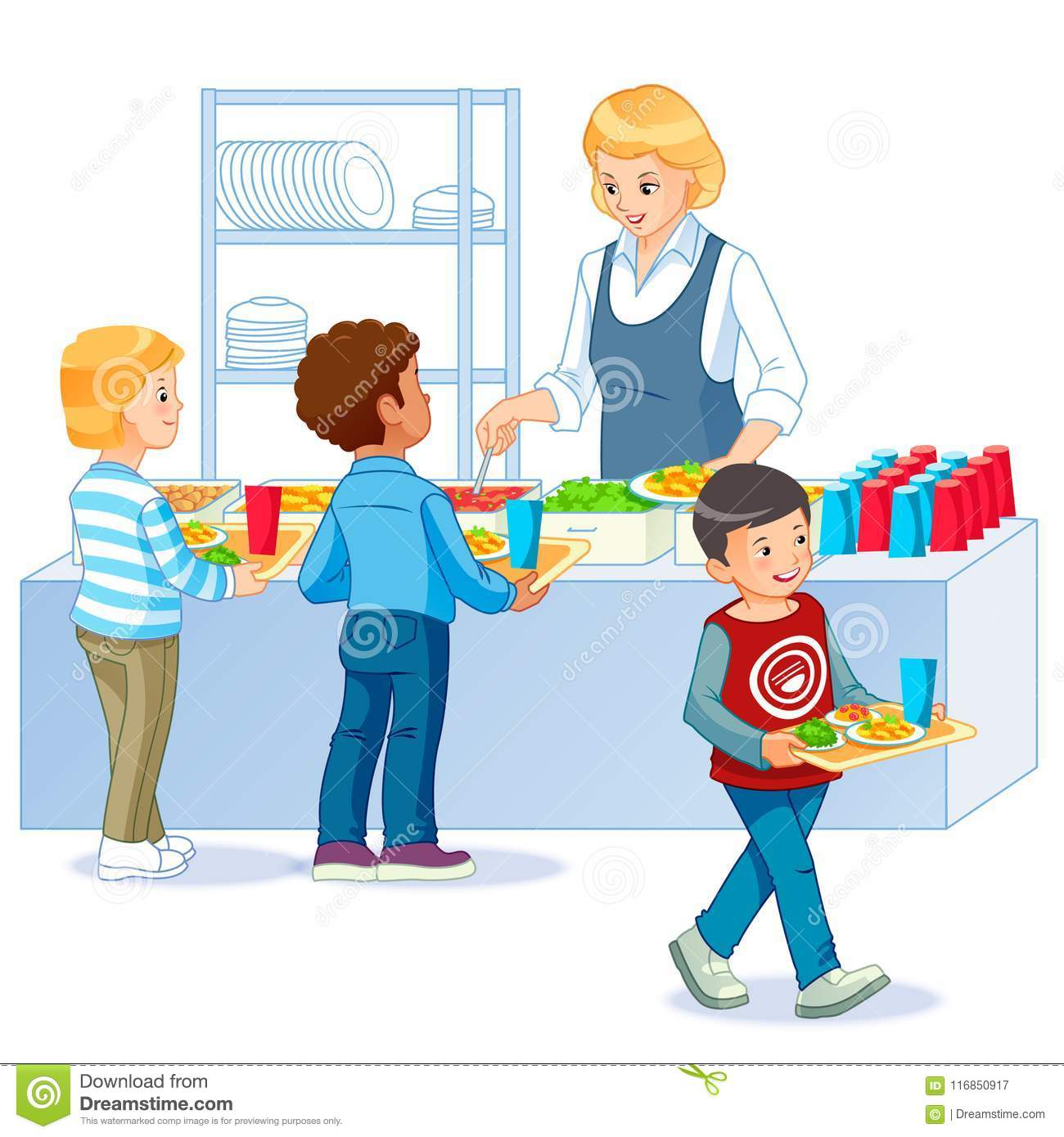 Shool_5 stock vector. Illustration of child, food, canteen ...