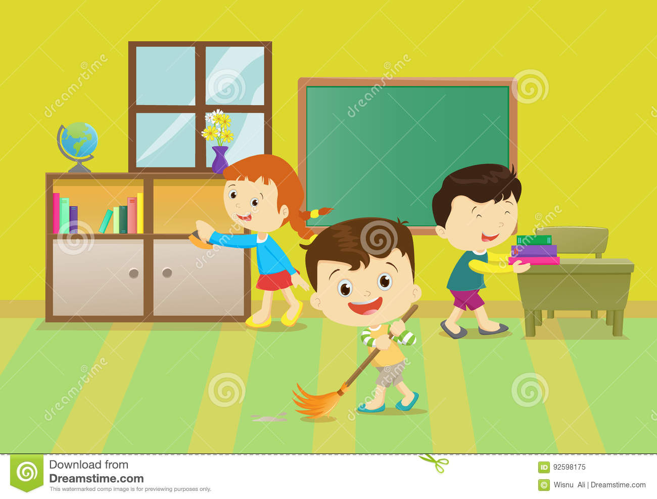 illustration of kids cleaning the classroom stock vector