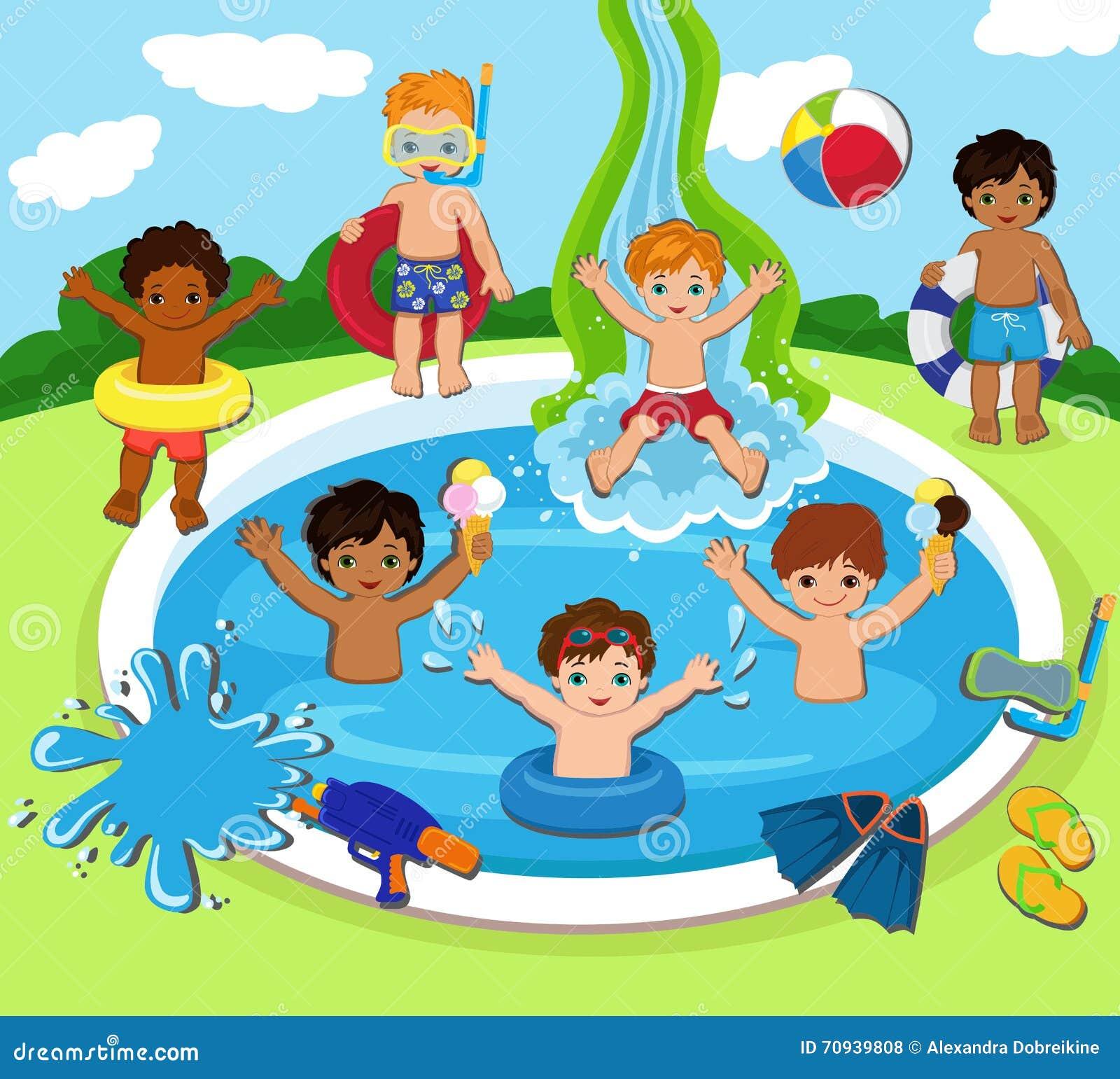 Cartoon Kids Playing Pool Volleyball