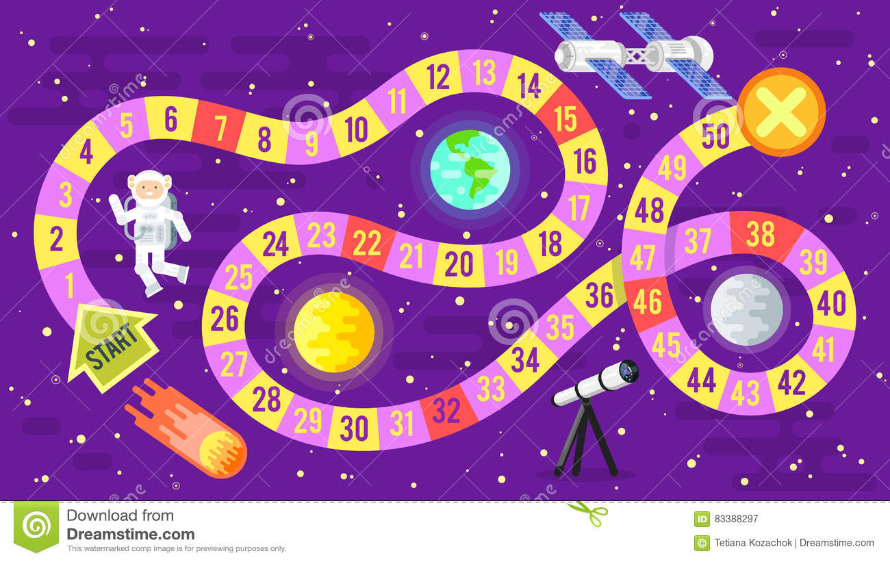 Illustration Of Kids Science And Space Board Game. Stock