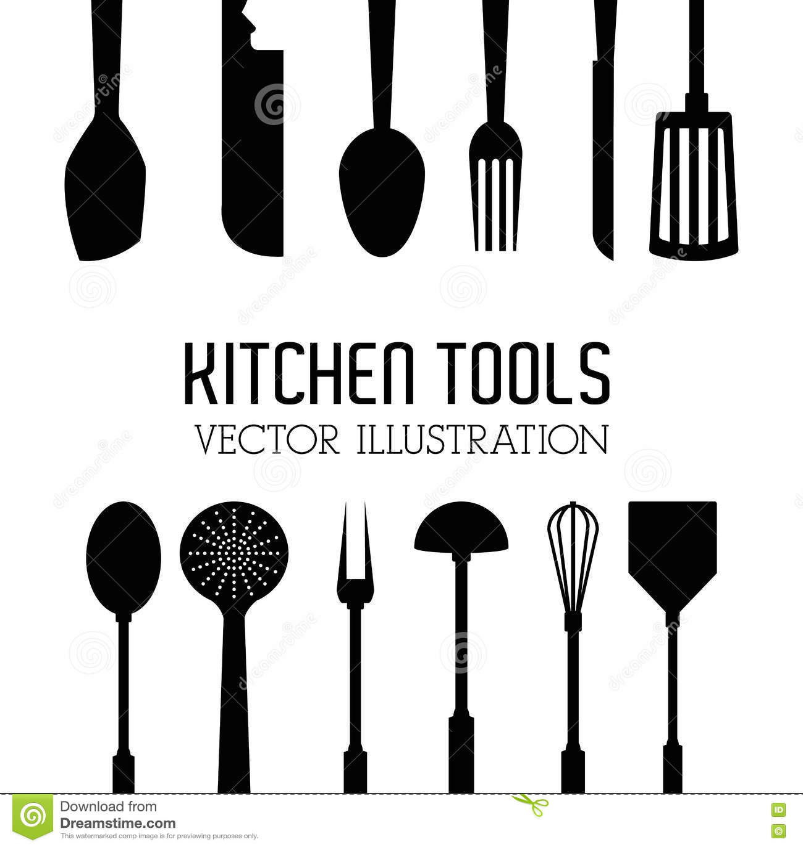 Illustration Of Kitchen Tools, Editable Vector Stock