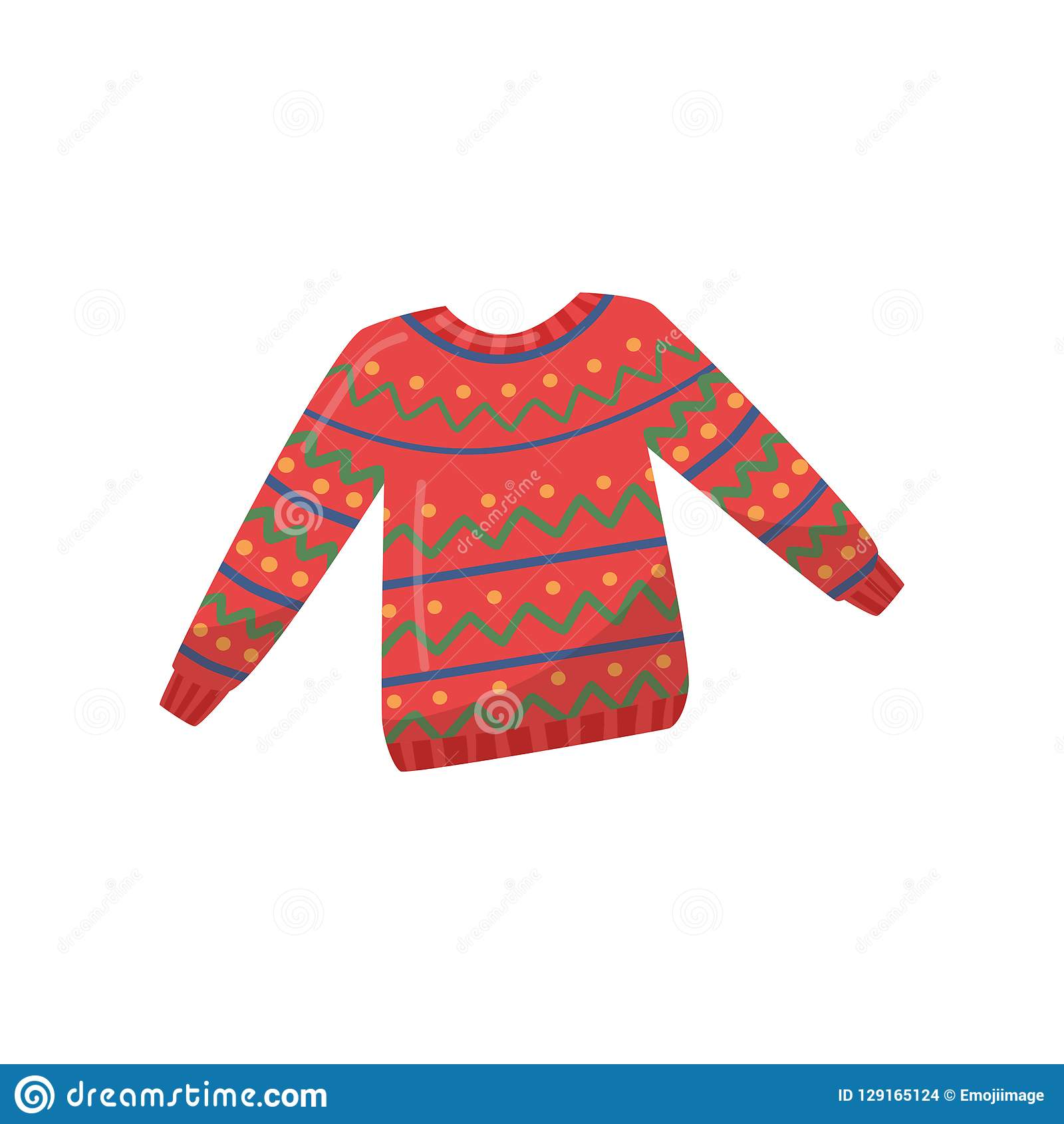5889daec4 Illustration of knitted woolen sweater. Bright red pullover with colorful  pattern. Clothing for winter season. Warm apparel. Cartoon style icon.