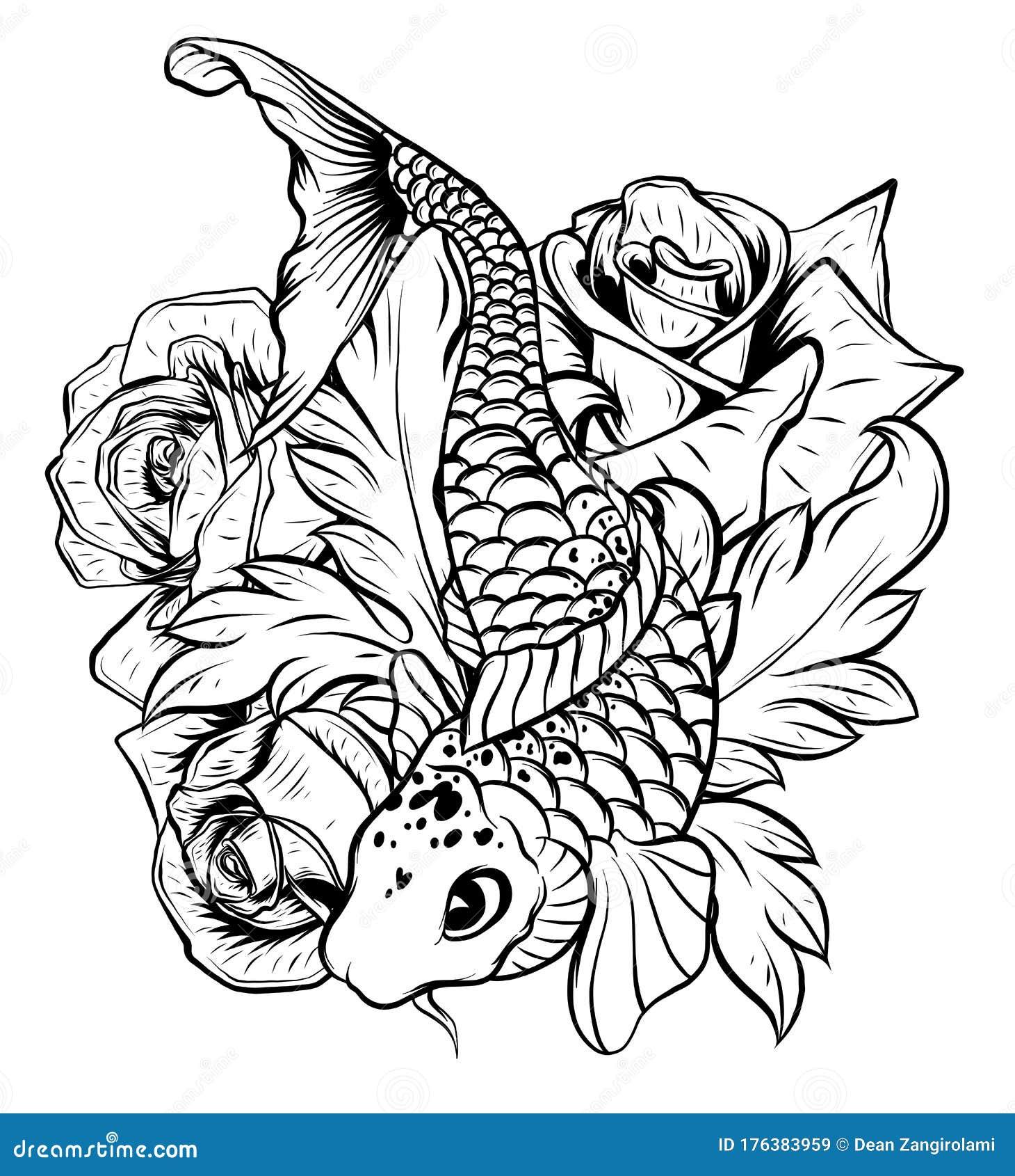 Illustration Of Koi Fish Drawing Vector Vector Illustration Japanese Motif Japan Background Hand Drawn Of Japan Stock Vector Illustration Of Drawing Culture 176383959