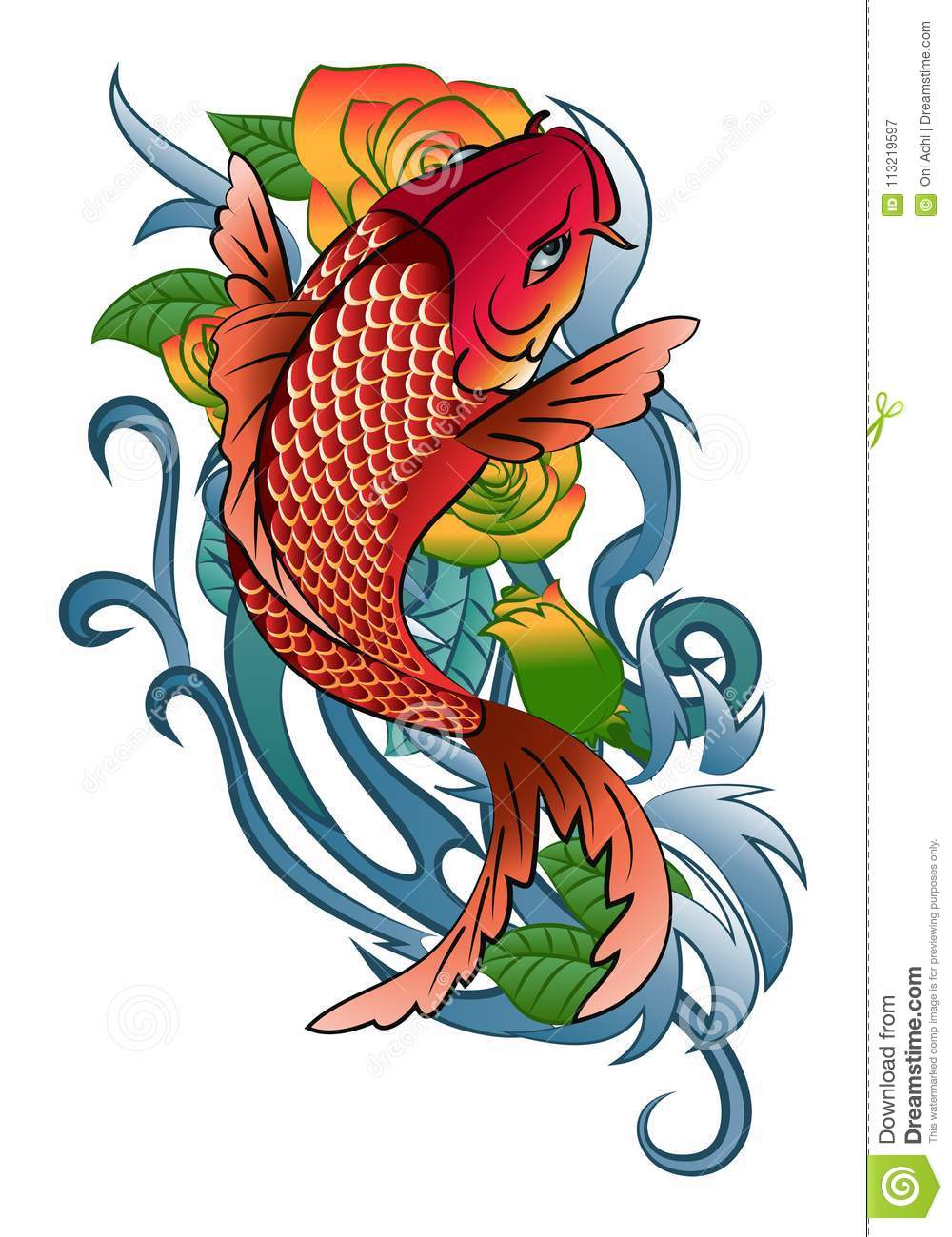 Koi fish jump tattoo stock vector. Illustration of marine - 113219597