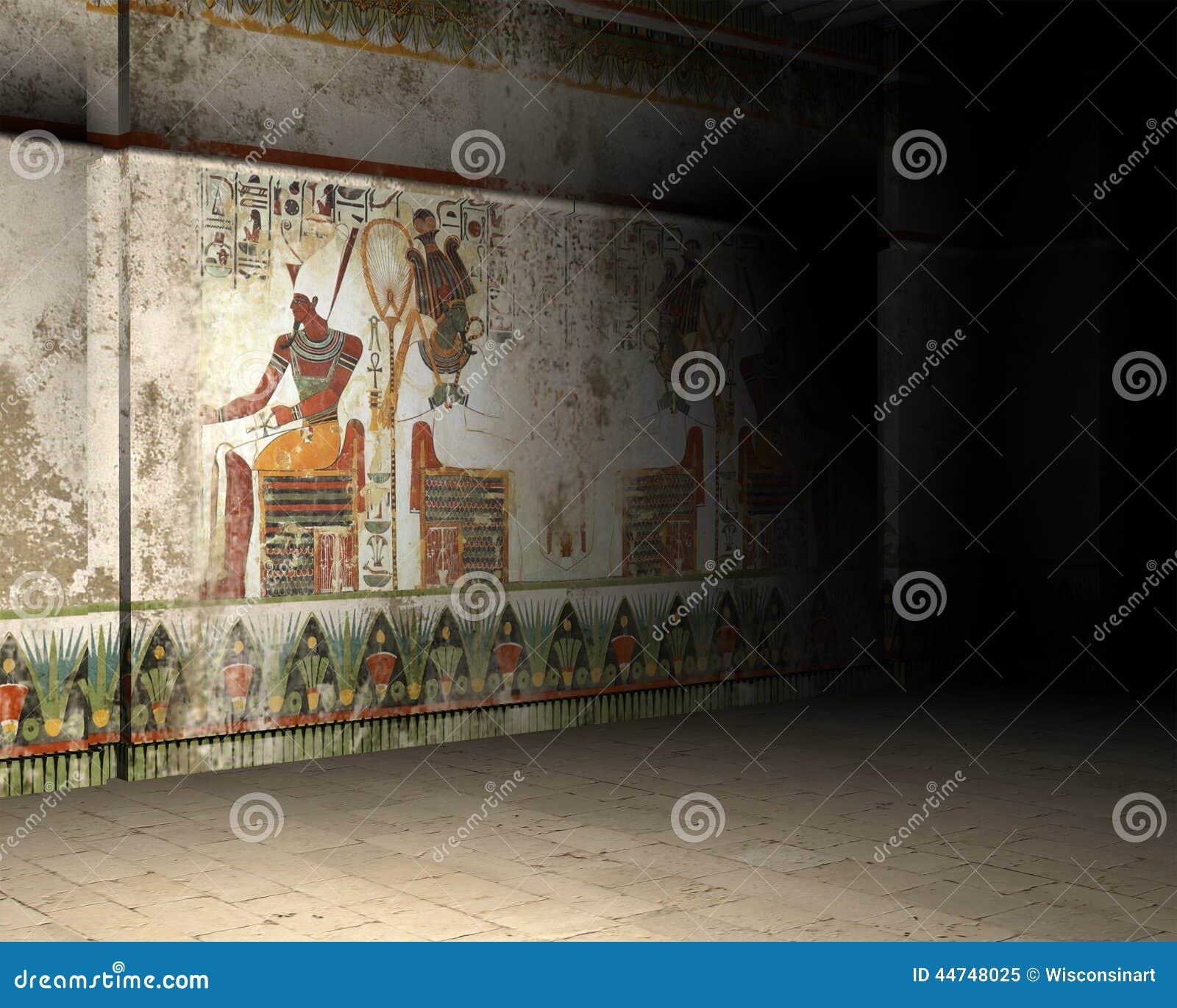 Illustration l 39 int rieur de tombe ou de pyramide d for Interieur pyramide