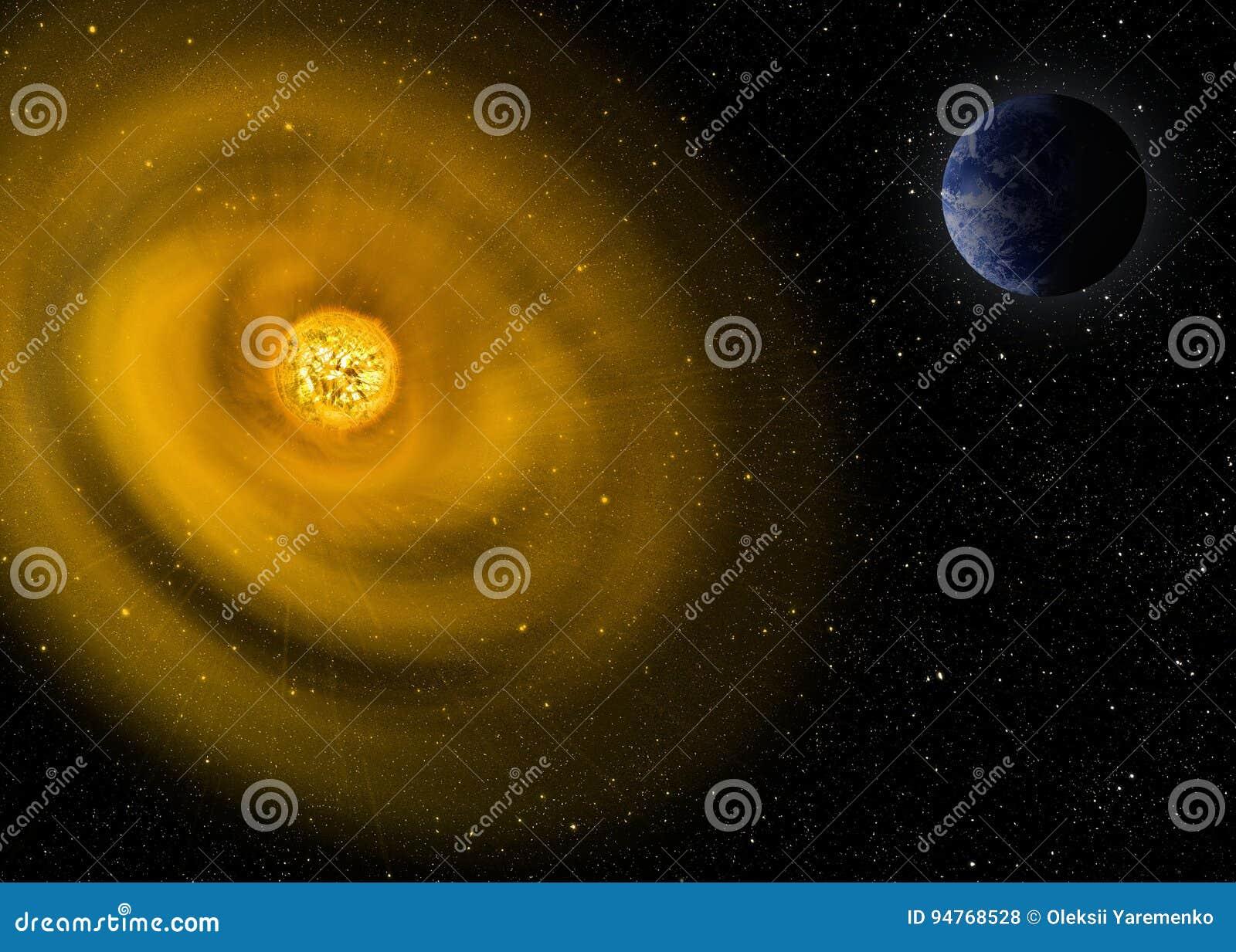 Illustration La terre et le soleil de planète