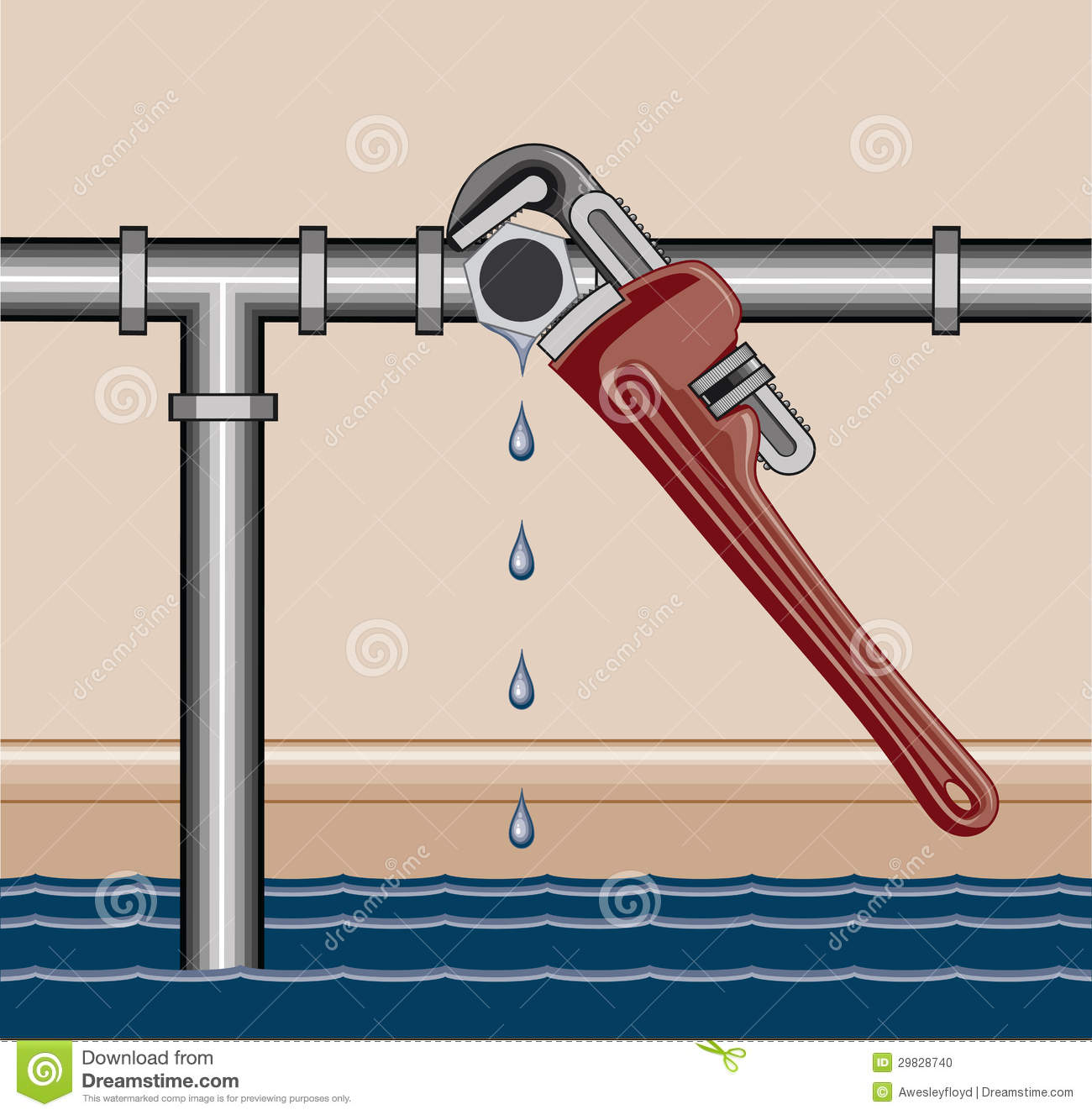 Illustration of a leaking water pipe being repaired using a plumbers #063D60