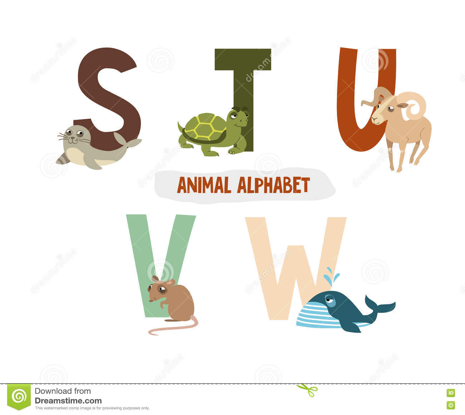 animal alphabet u v w stock vector 151807199.html