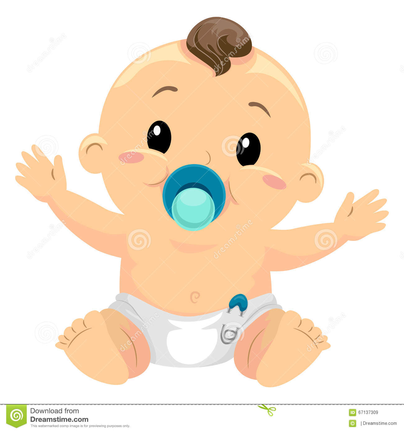 Illustration Of Little Baby Boy Sucking A Pacifier Stock