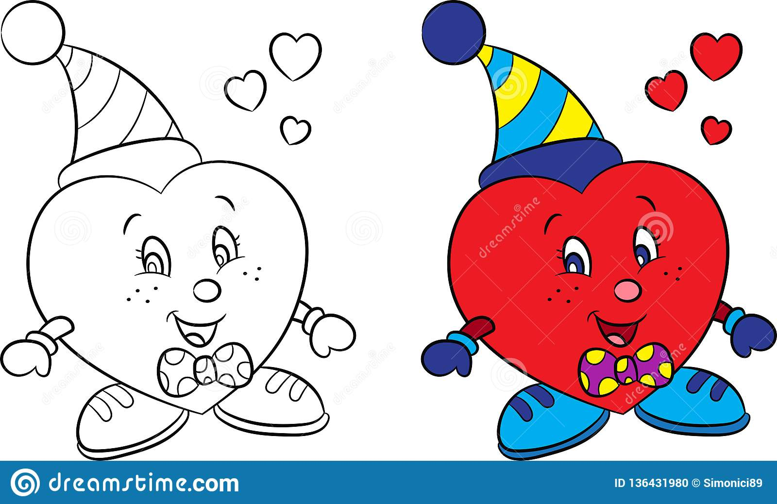 Before And After Illustration Of A Little Boy Heart In Color And