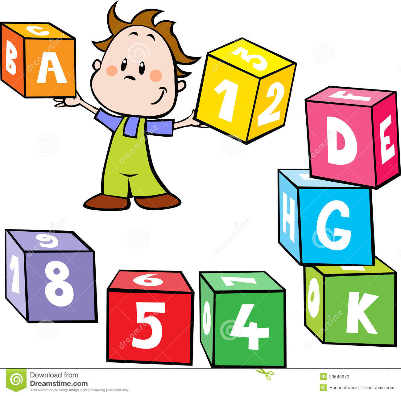 illustration of little boy hold colorful cubes wit stock vector
