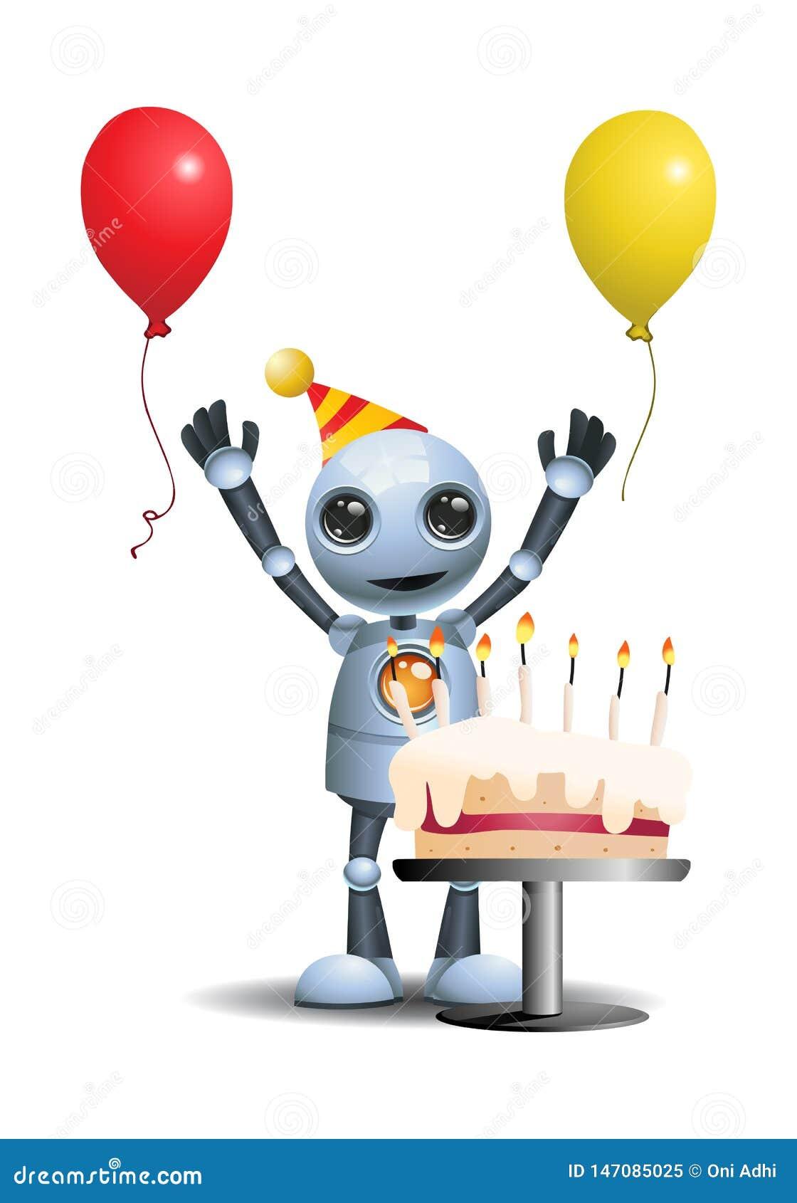 Awe Inspiring Little Robot Got A Birthday Cake Stock Illustration Illustration Personalised Birthday Cards Epsylily Jamesorg