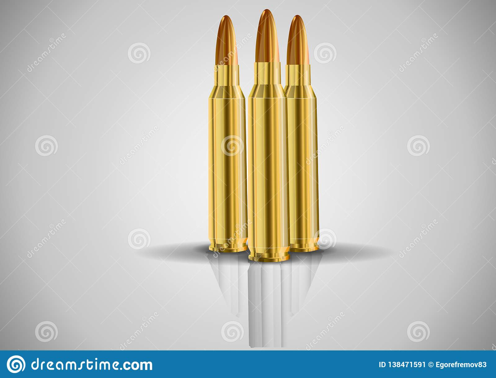 Stylish cartridge.live cartridge.Vector image of a set of ammunition.