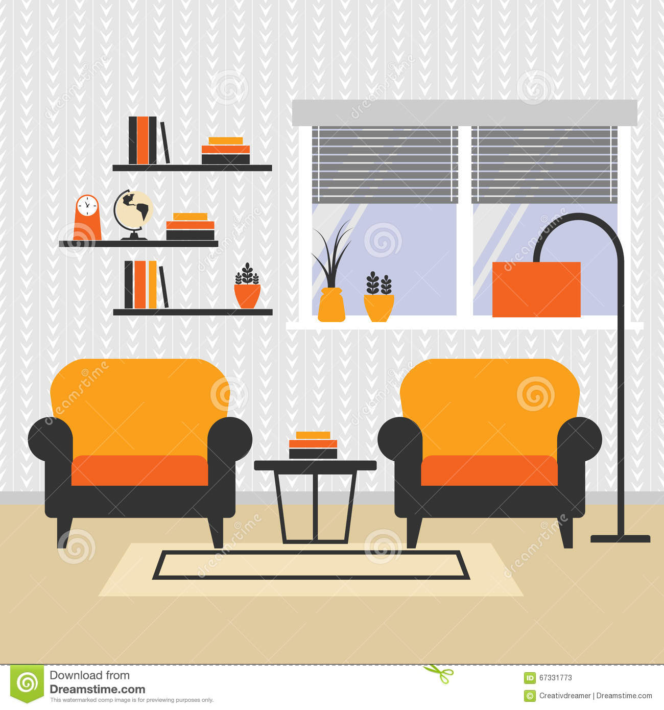 Illustration of a living room arrangement with armchair for Reading table design
