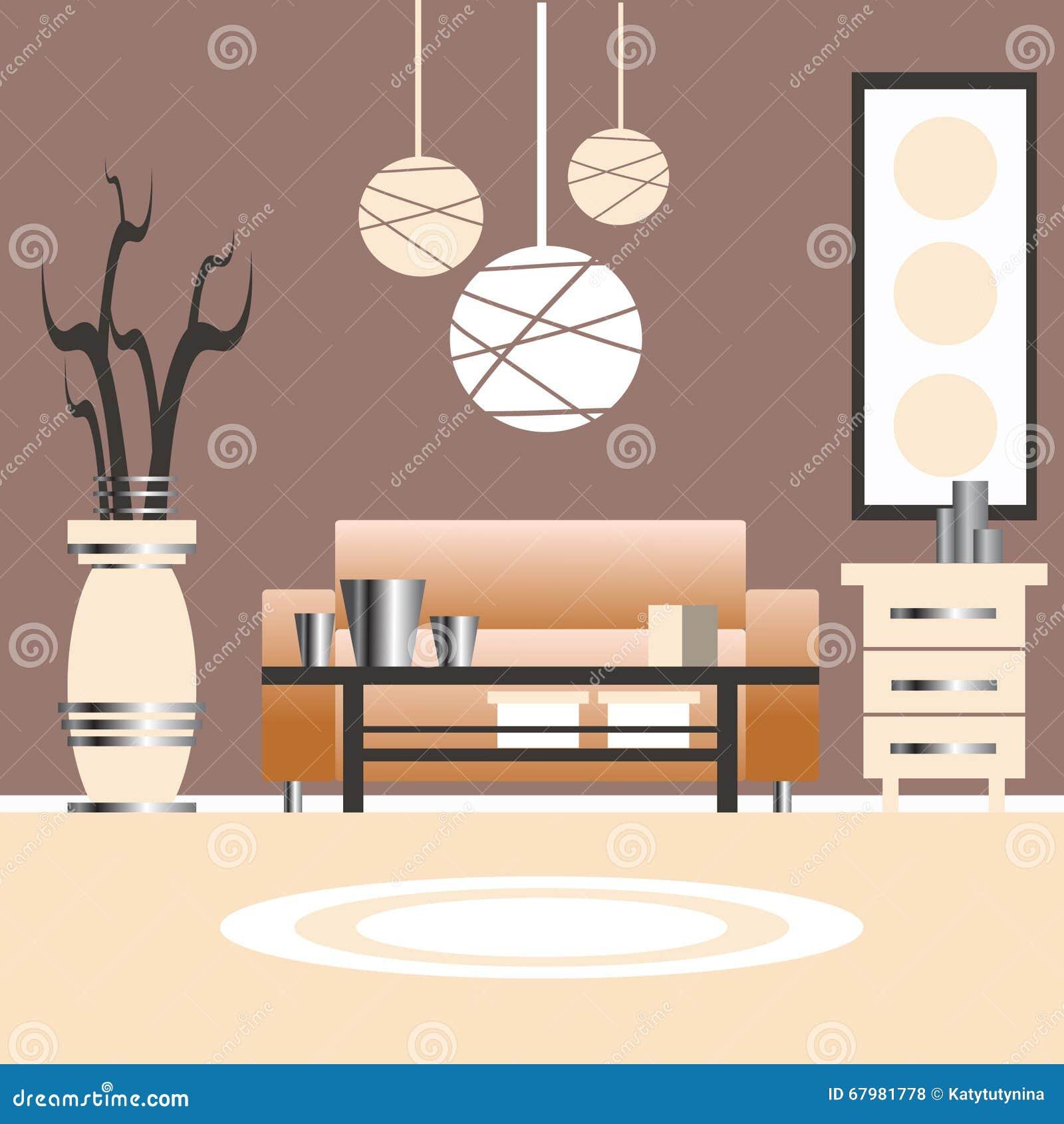 Illustration Of Living Room Interior Design Stock Vector