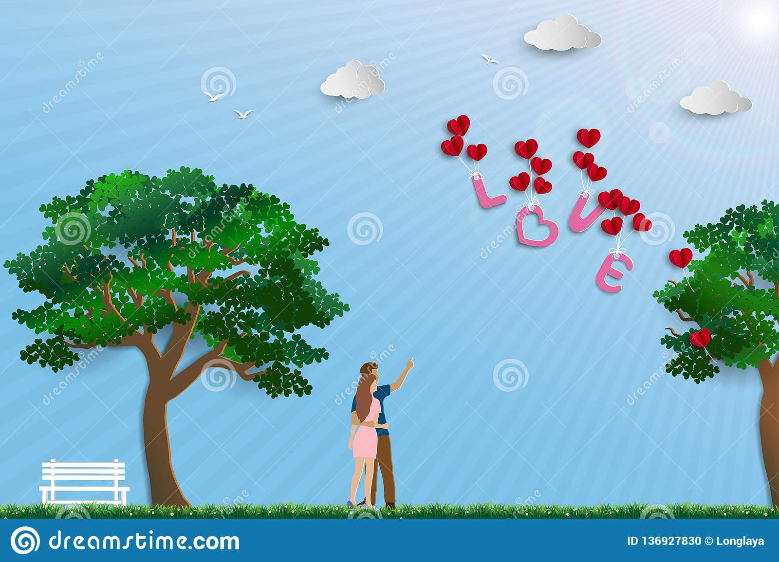 Illustration of love with couple standing in the meadow on sunshine day,paper art design for happy Valentine`s day