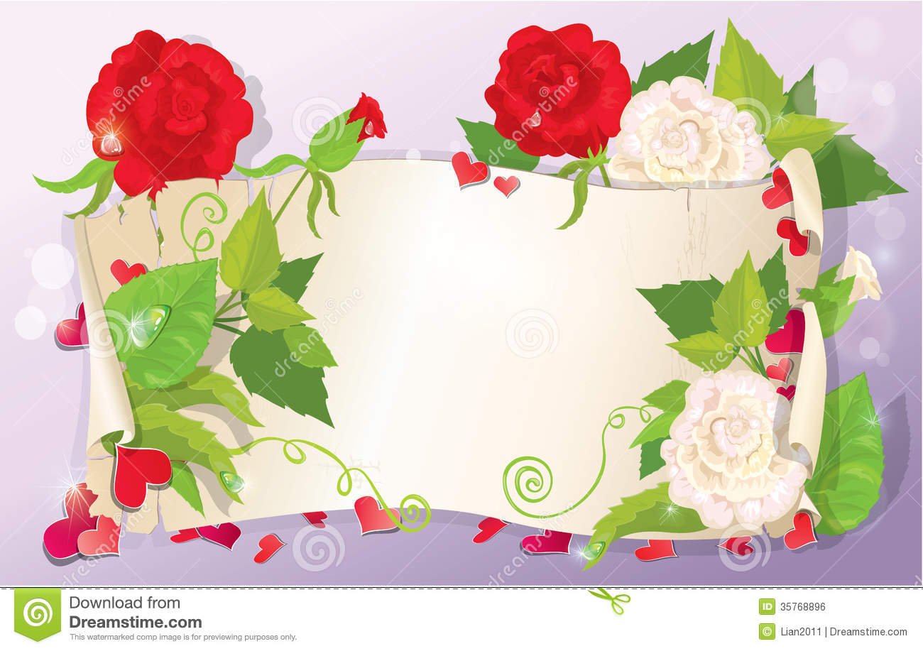 Illustration Of Love Letter With Hearts And Flower Royalty Free ...