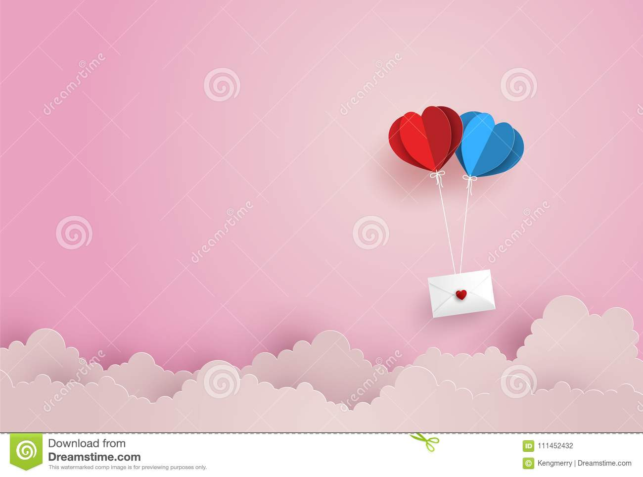 Illustration of Love and Valentine Day,twin paper hot air balloon heart shape hang envelope floating on the sky.