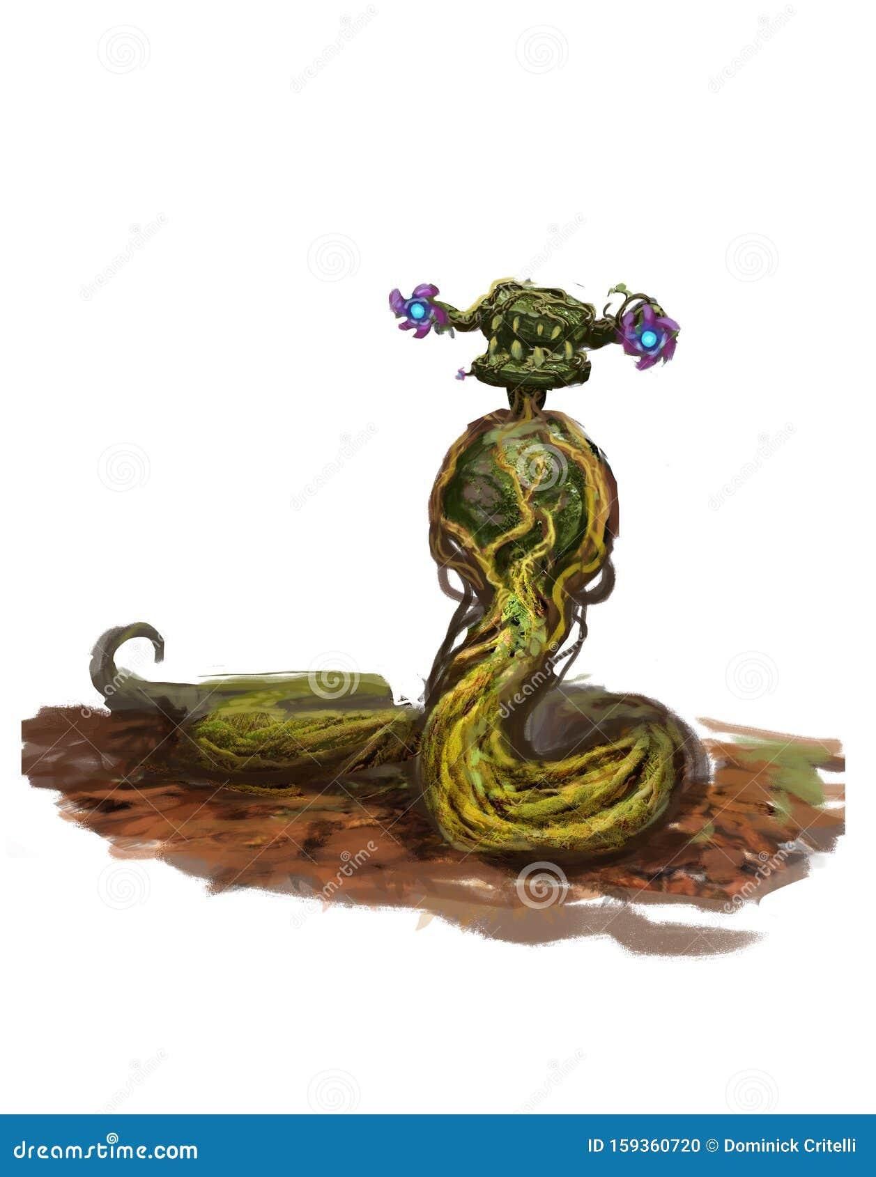 Illustration Of Magic Moss Snake Creature Stock Illustration Illustration Of Isolated Concept 159360720
