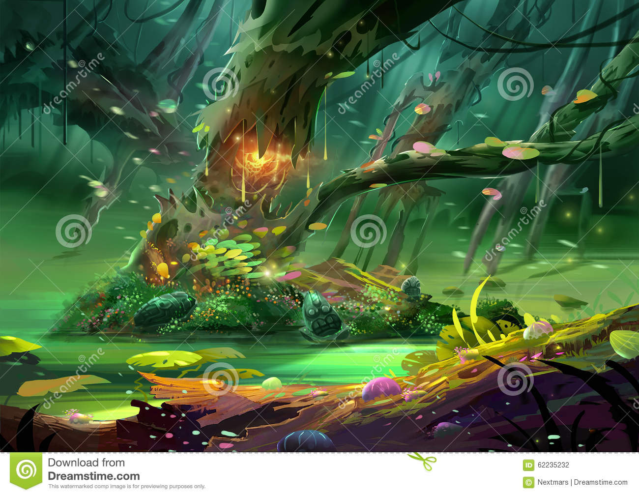 Illustration The Magical Tree In The Magnificent And