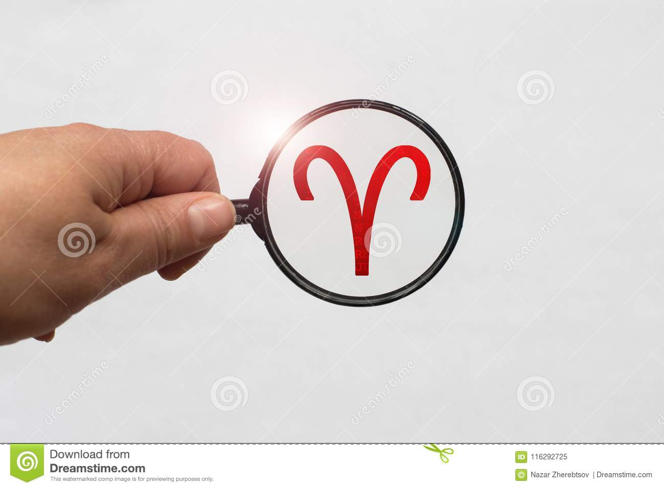 Illustration of a magnifying glass focusing on the Red Aries Zodiac Sign