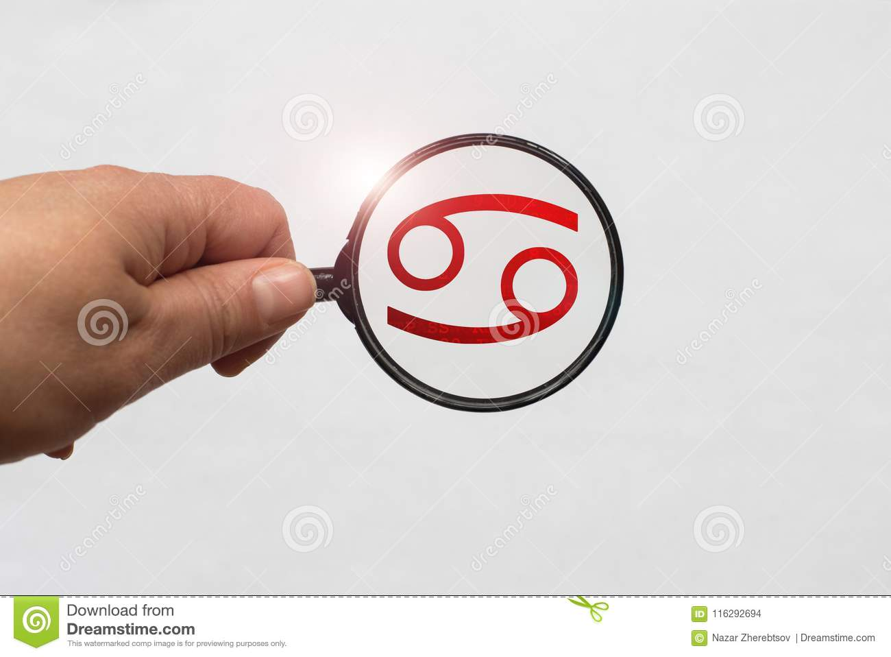 Illustration of a magnifying glass focusing on the Red Cancer Zodiac Sign
