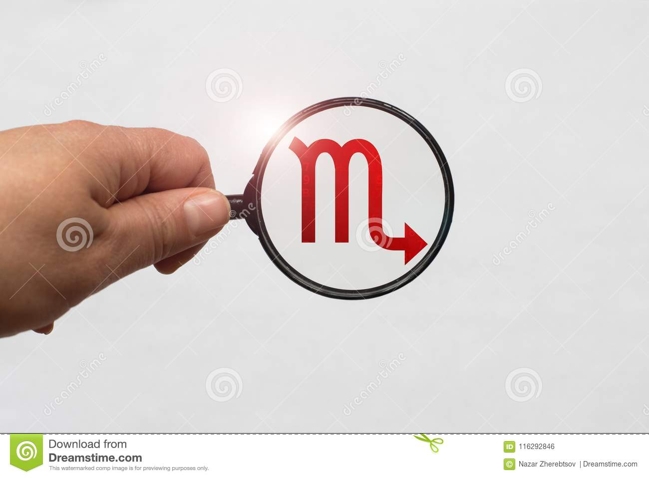 Illustration Of A Magnifying Glass Focusing On The Red Scorpio