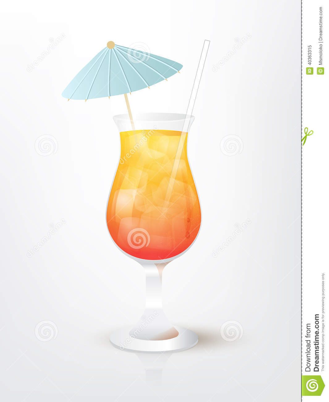 Illustration Of The Malibu Sunset Cocktail Stock Vector