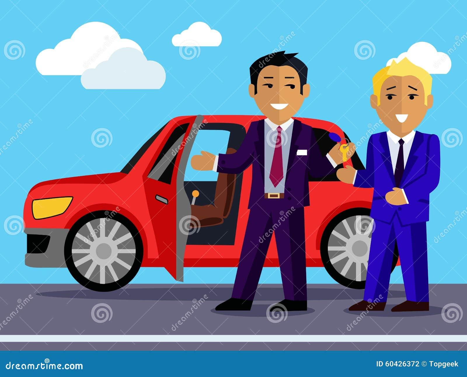 illustration of man buys a new car stock vector illustration of owner sedan 60426372. Black Bedroom Furniture Sets. Home Design Ideas