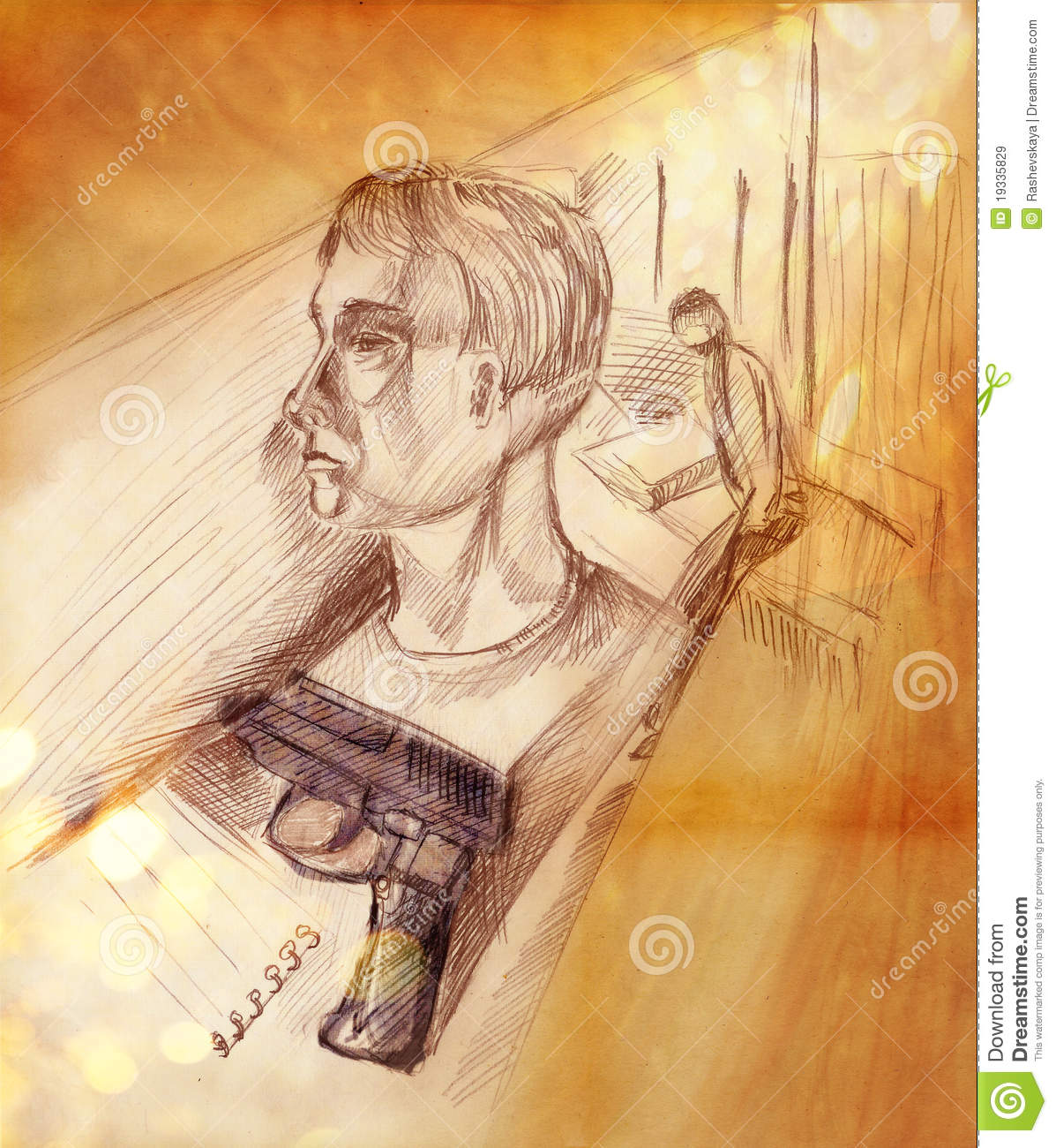 Illustration of a man in profile and a pistol