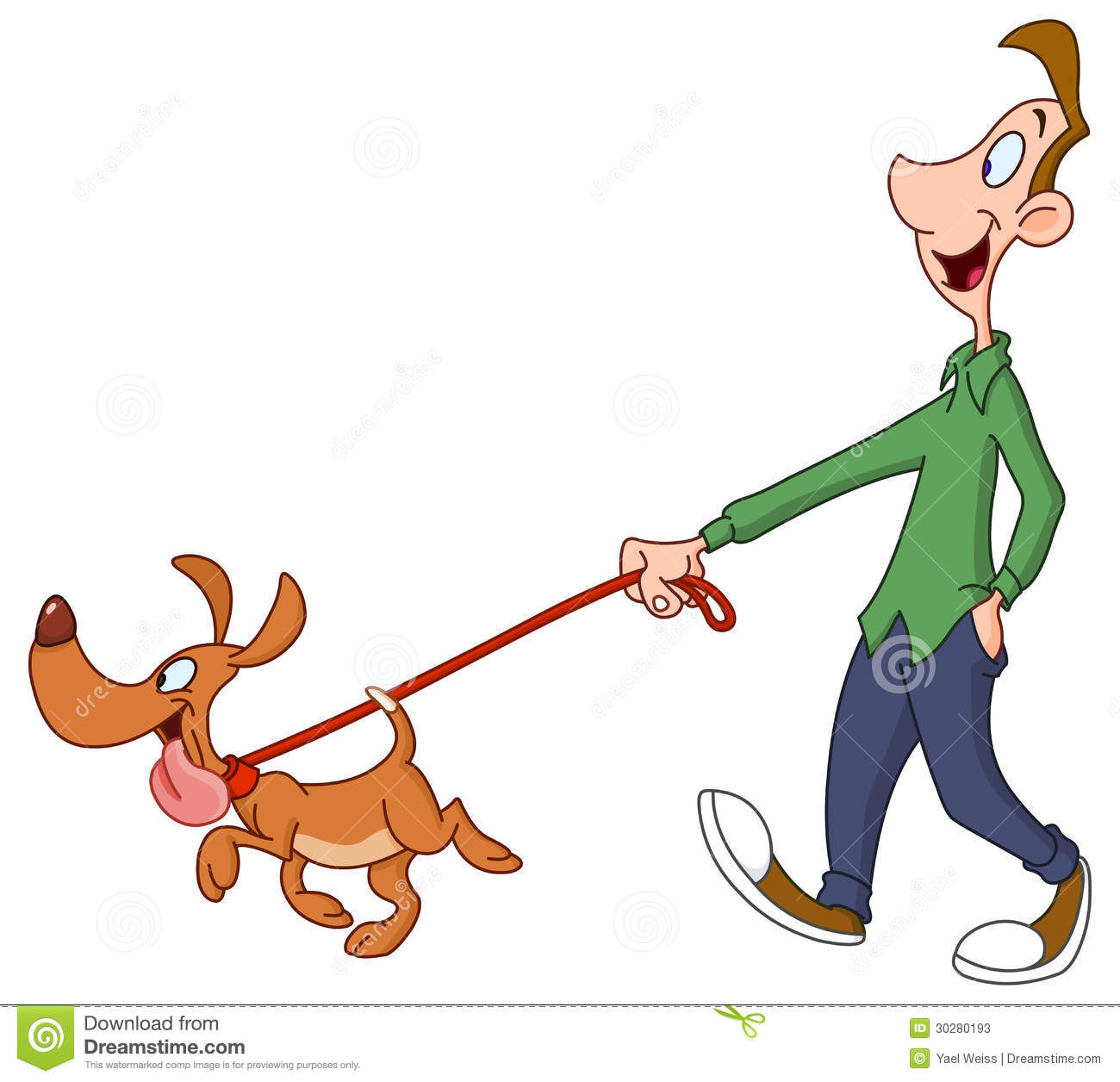 Cartoon Picture Of Dog Walking