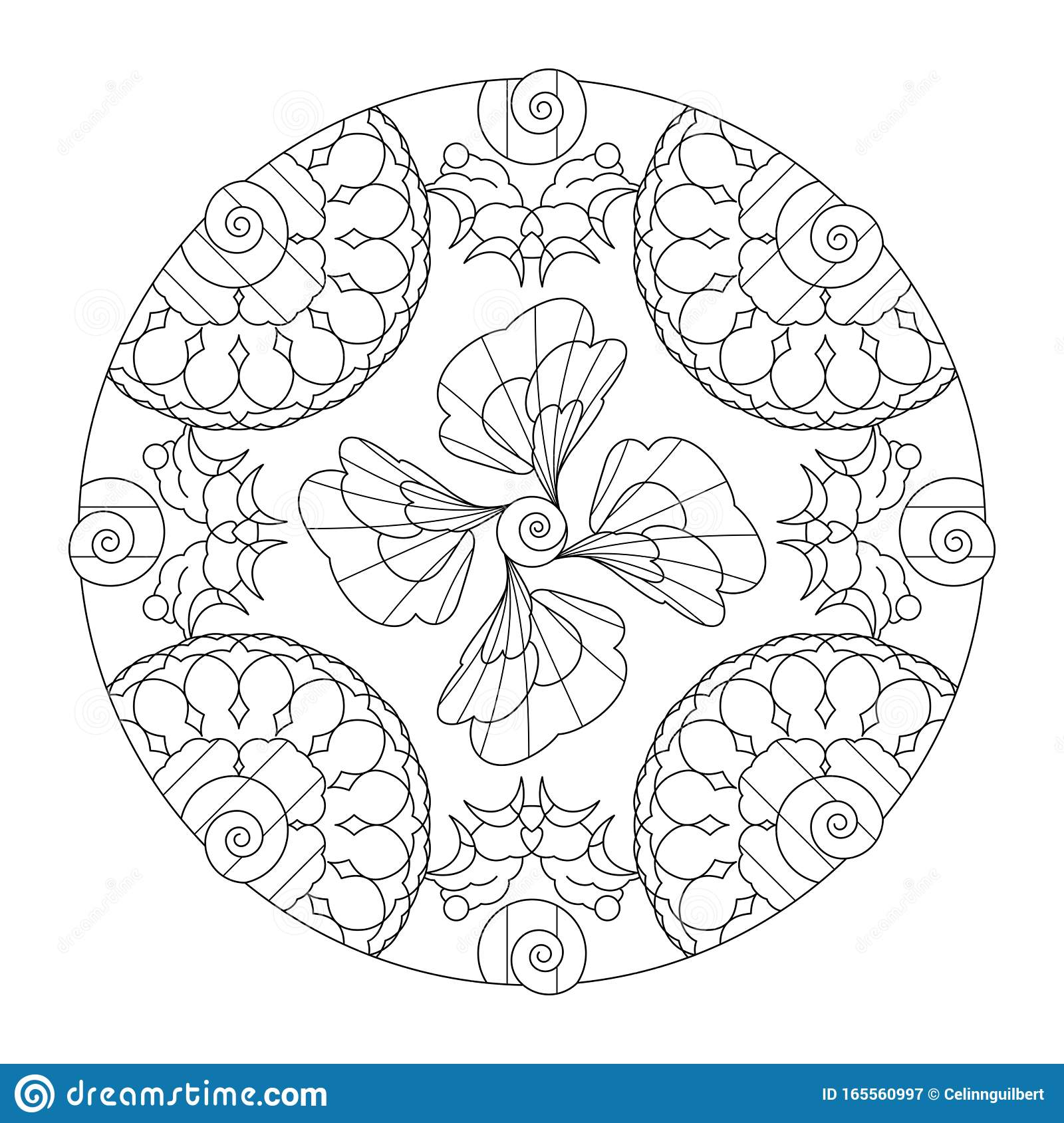 Illustration Mandala Abstract Spirals Art Therapy Coloring Page Decorative Element Stock Vector Illustration Of Love Background 165560997