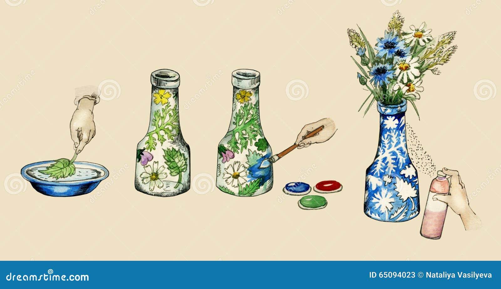 Illustration manuelle de la décoration de vase faire-service informatique-lui-même