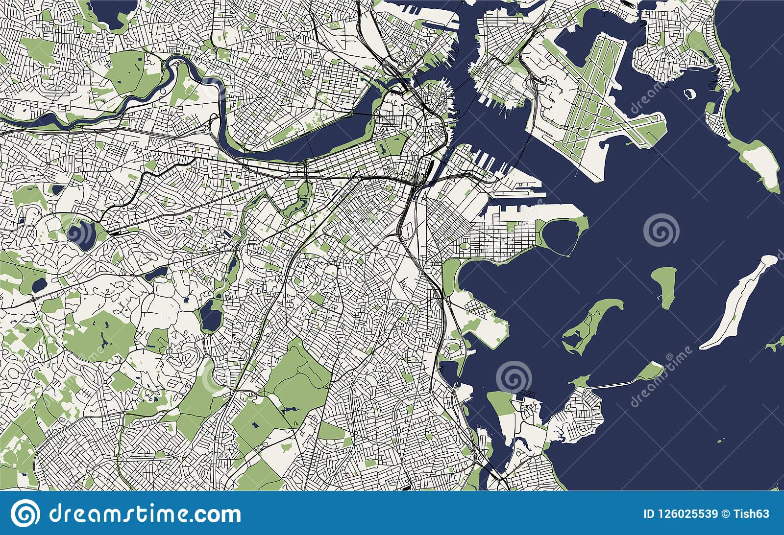 Map Of The City Of Boston, USA Stock Illustration - Illustration of ...