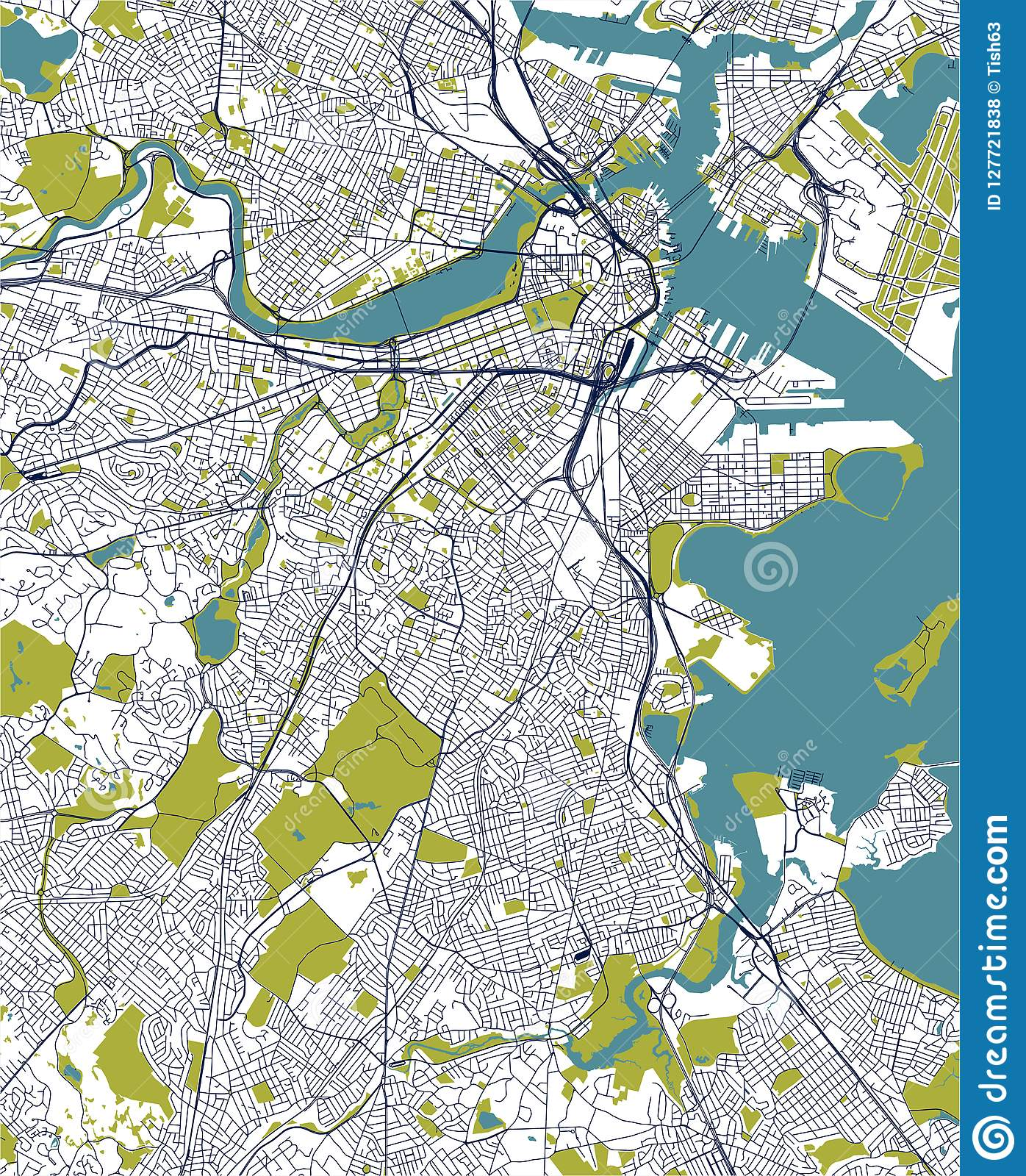 Map Of The City Of Boston, USA Stock Illustration ...