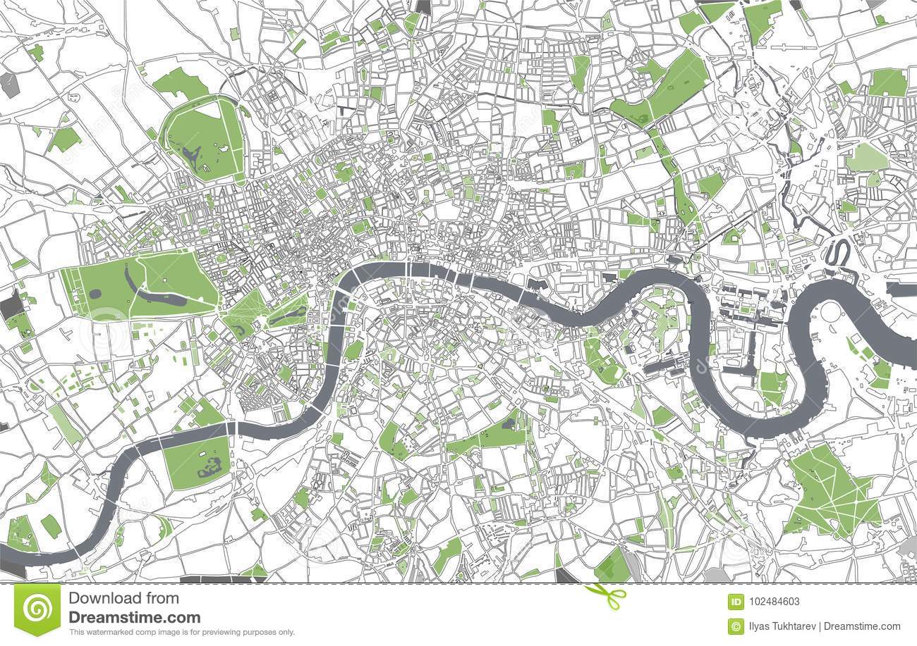 Map City London.Map Of The City Of London Great Britain Stock Illustration