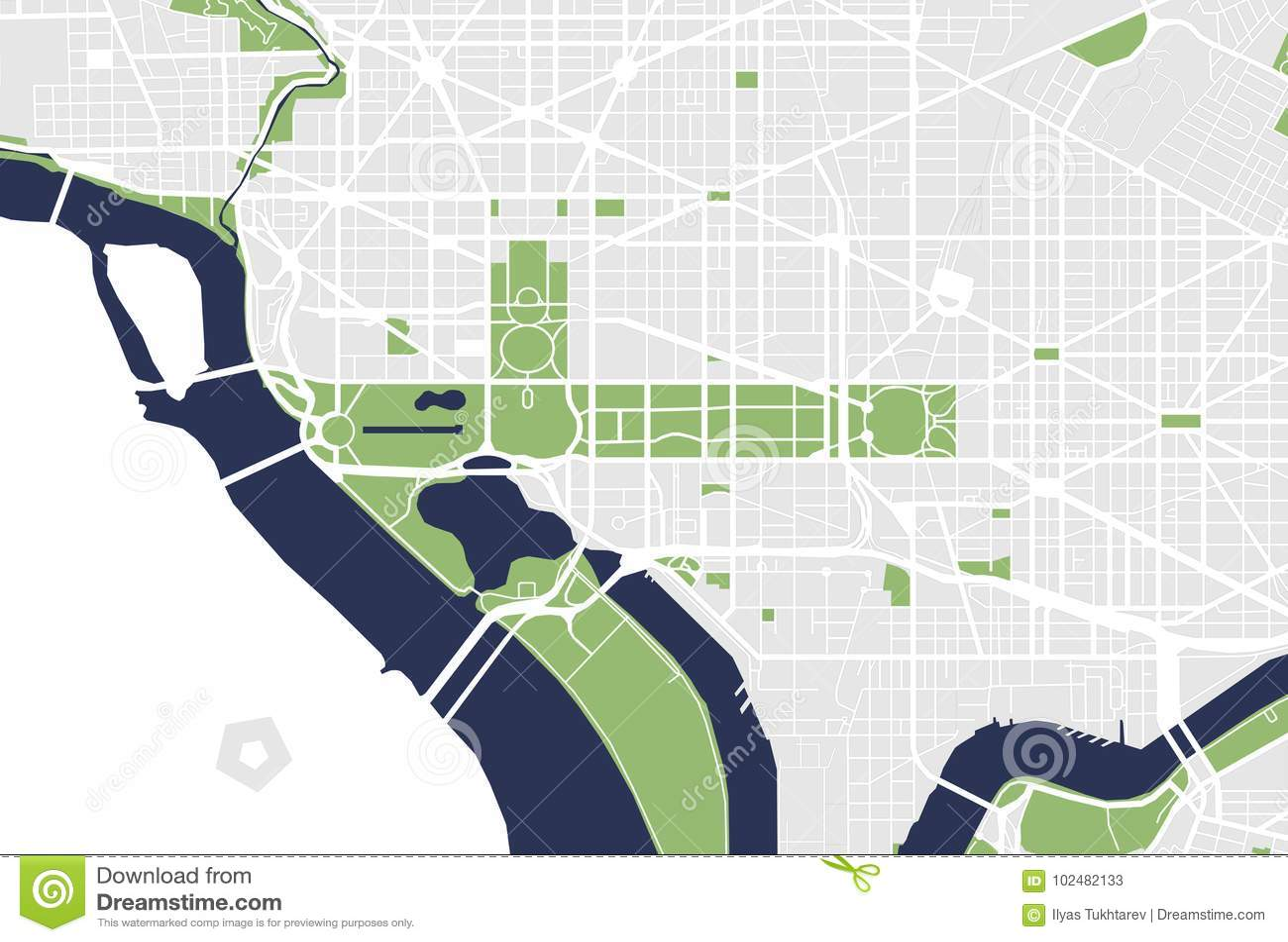 Map Of The City Of Washington, D.C., USA Stock Illustration ...