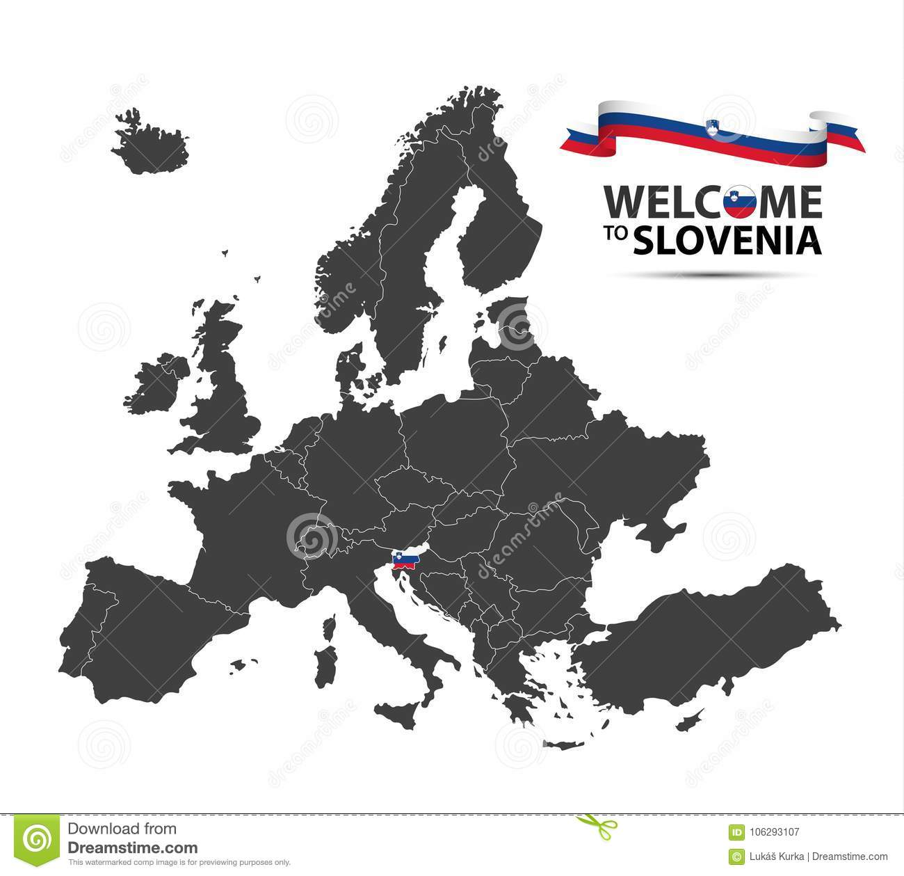 Illustration Of A Map Of Europe With The State Of Slovenia Stock ...