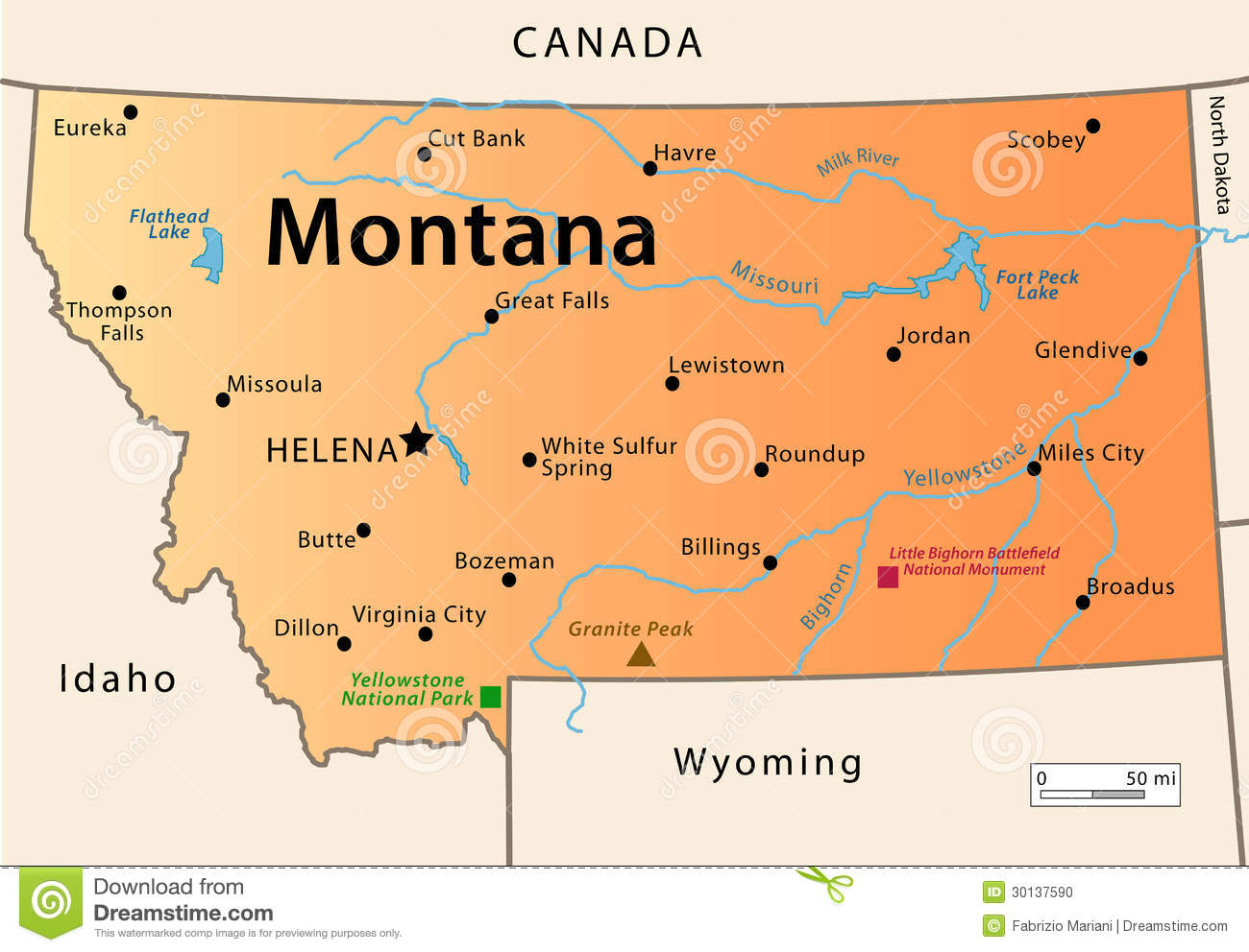 Montana Map Stock Photo Image - Montana cities map