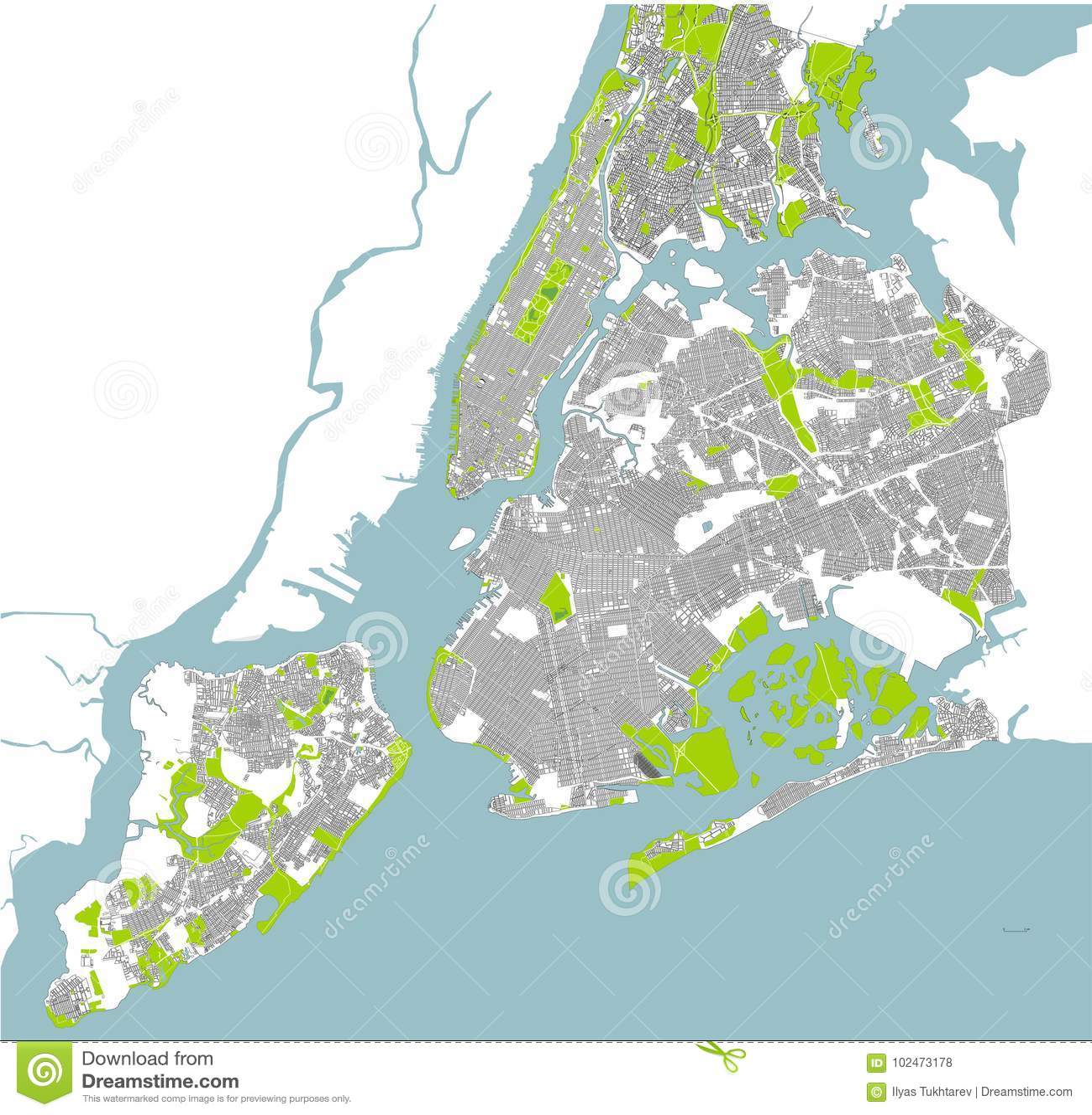 Map Of The New York City Ny Usa Stock Illustration Illustration