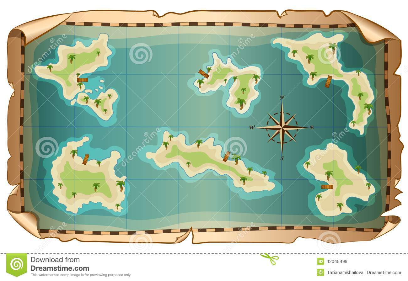 Illustration Of Map Of Pirate With Islands Stock Vector ...