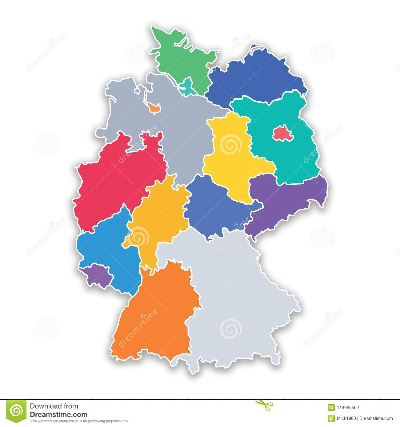 Map Of States In Germany.Map Of States Of Germany In Flat Colors Stock Illustration