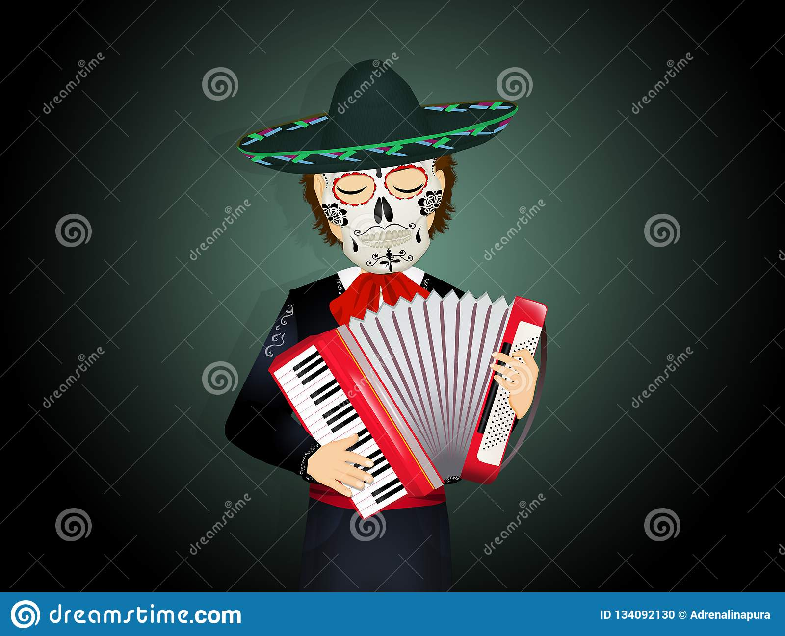 Mariachi with mask of the skull on the day of death