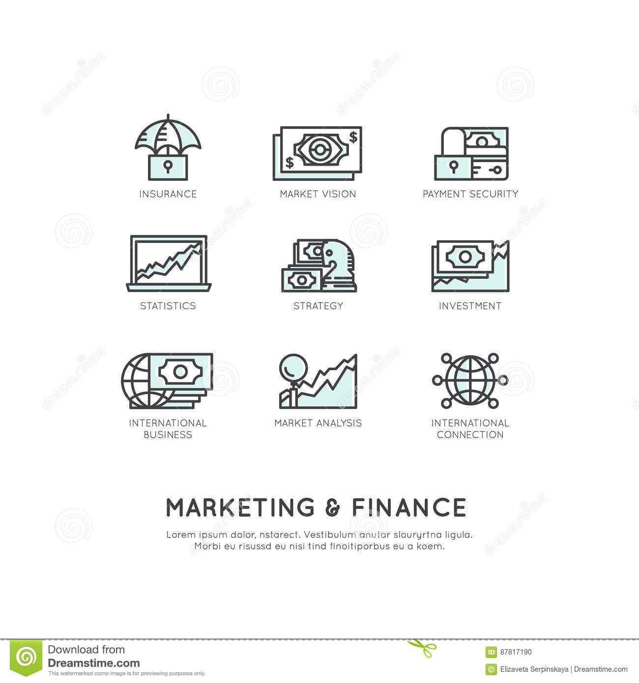 Illustration of Marketing and Finance, Business Vision, Investment, Management Process, Finance Job, Income, Revenue Source