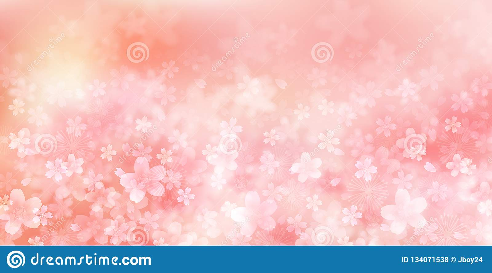 Cherry illustration material that imaged Japanese spring