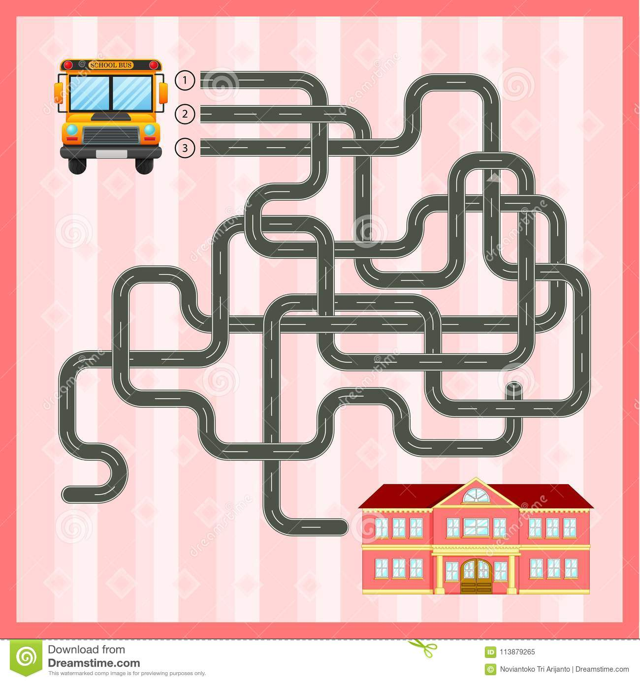 Maze Game Template With School Bus Stock Vector