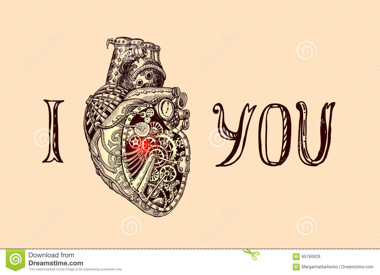 Illustration Of Mechanical Heart Stock Vector - Illustration of ...