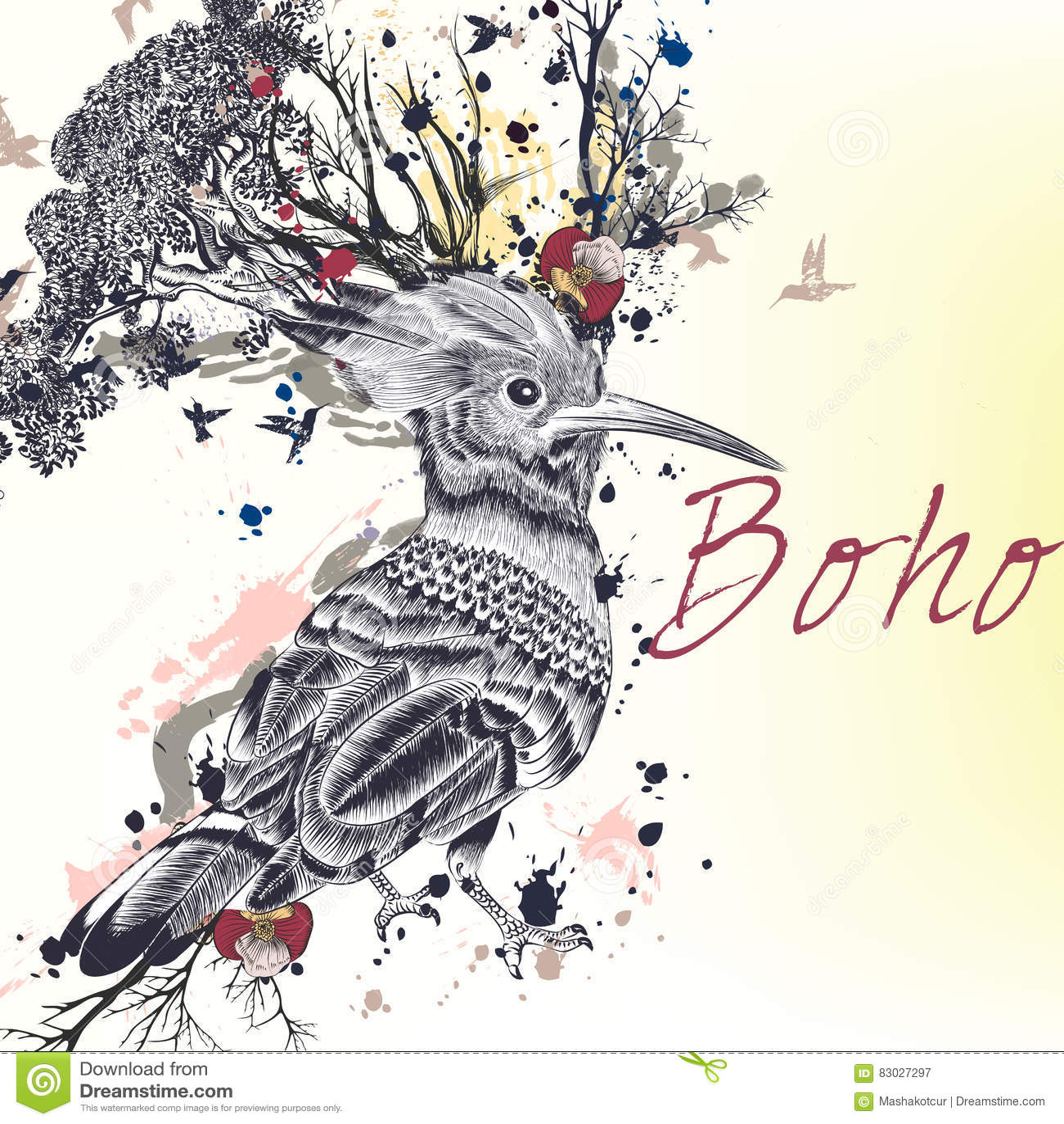 Illustration med den hand dragen fågeln, blommor, fjärilar och kli