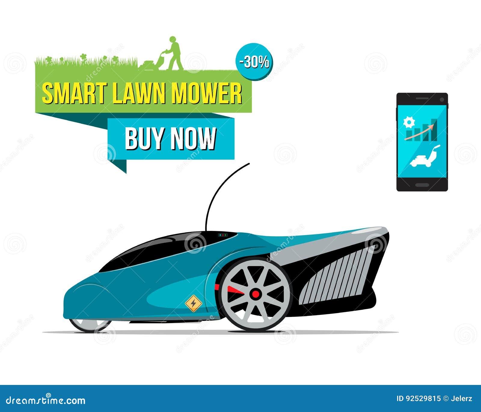 Illustration med den smarta gräsklipparen för elkraft