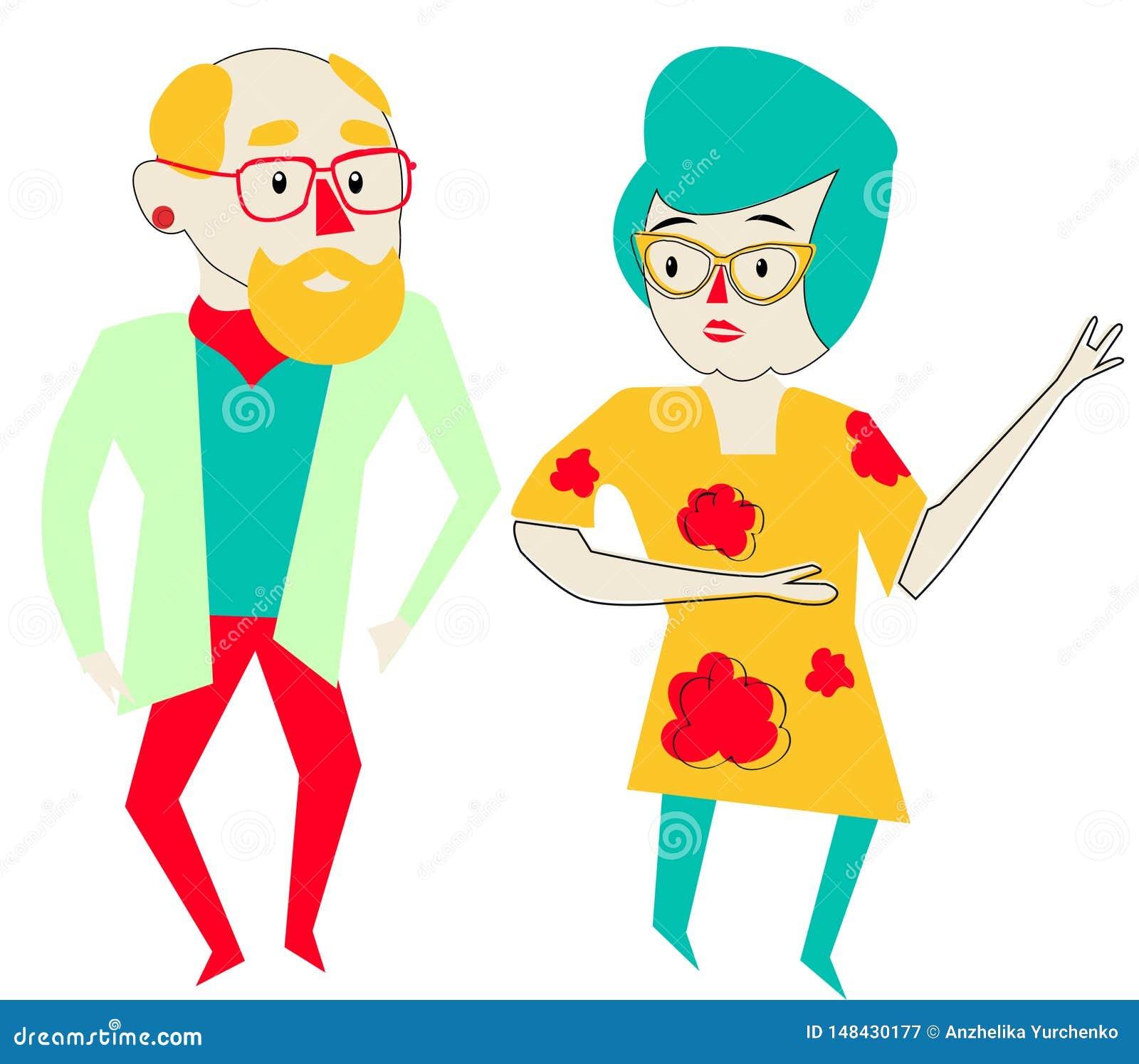 Illustration med en farmor, farmodern i gula exponeringsglas och en klänning